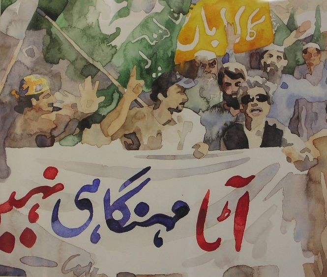 Atta Crisis (Demonstration over sky-rocketing wheat flour prices)_ watercolor_2008
