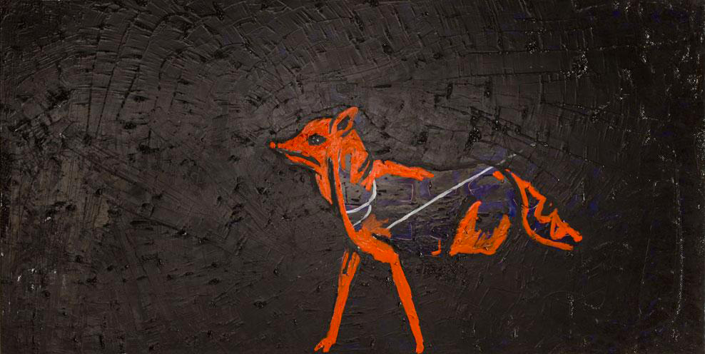 Anat-Propper-Goldenberg_Laser-Dog_2007-Oil-on-plywood-122×244-cm_Arts-and-Society